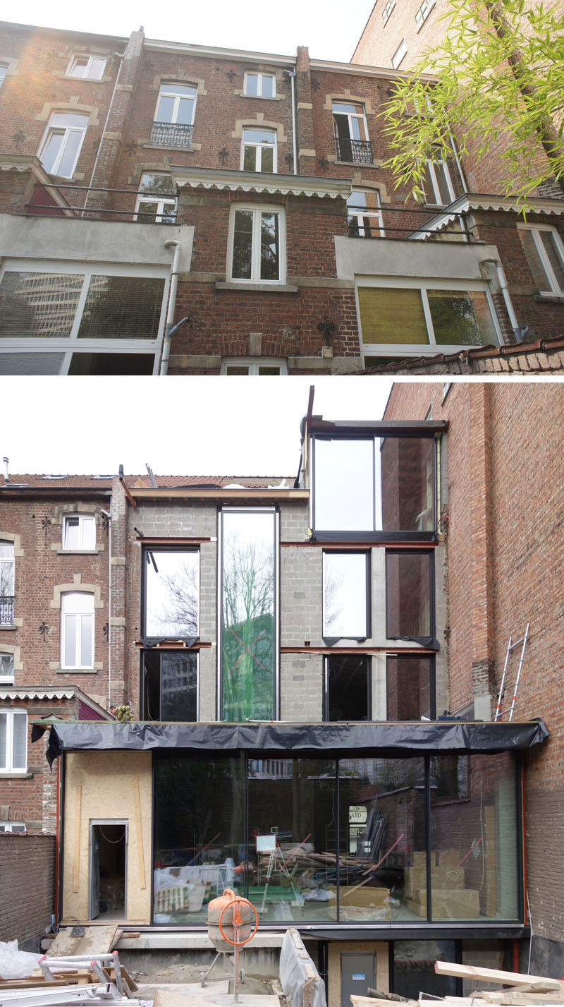 Before Pics - Architecture firmK2A, have completed the renovation of twovery narrow houses that were in poor condition in Brussels, and transformed them into a larger house with a back garden. #Architecture