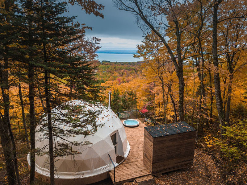 "Bourgeois / Lechasseur architects have recently completed ""Dômes Charlevoix"", a collection of three domes that have been designed and installed as part of a new concept of four seasons eco-luxurious accommodations. #Quebec #Dome #Travel"