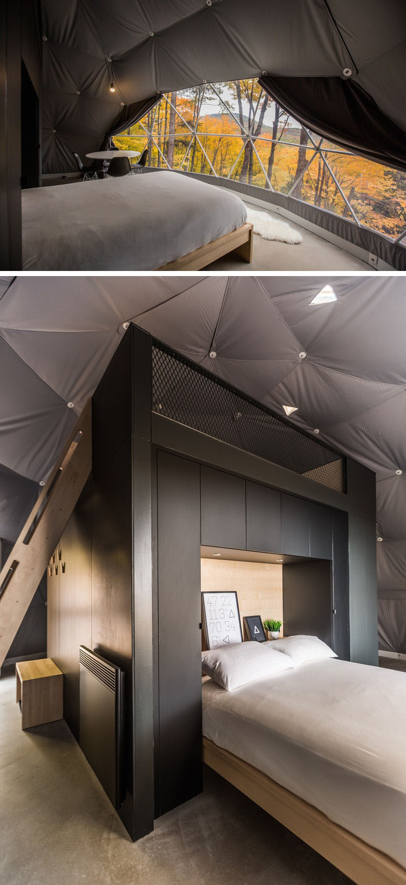 The bed in this modern dome, has been positioned to take advantage of windows within the dome's design, and black cabinetry, similar to the kitchen, wraps around the headboard. #Dome #Bed #Travel #Vacation