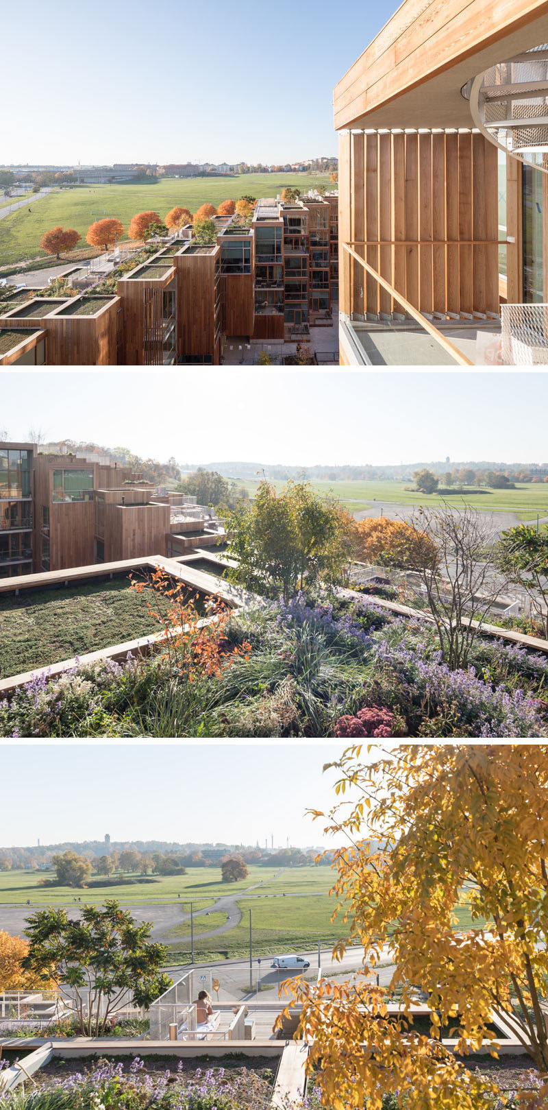 Due to the terraced design of this modern building, the architects created green roofs and patios, that give upper residences a nice natural view that complements the parkland. #GreenRoof #Rooftops #Architecture