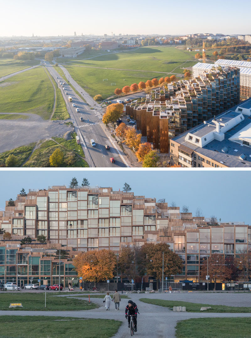 Bjarke Ingels' architecture firm BIG, have recently completed '79&Park', a residential building in Stockholm, Sweden, that sits on the edge of Gärdet, a national park. #Architecture #ModernBuilding #ResidentialBuilding