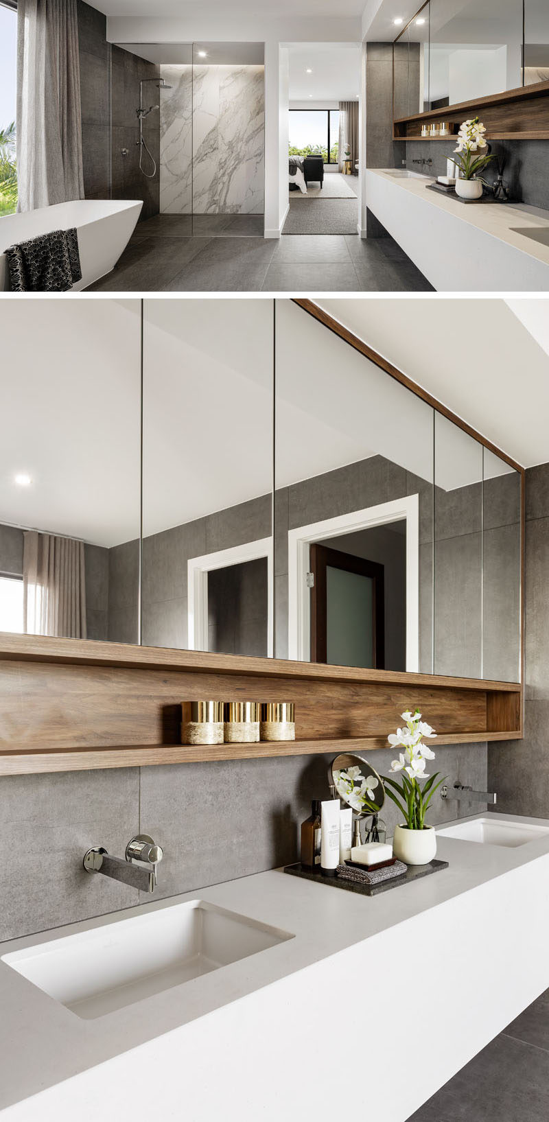 A modern ensuite bathroom features a large walk-in shower, a long white vanity with undermount sinks, and a freestanding bathtub.