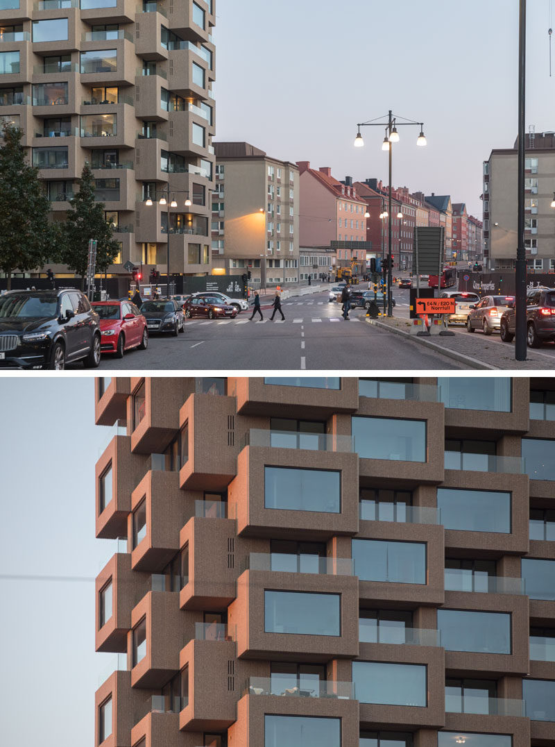 This new residential building in Stockholm, features a modular system of precast exposed concrete elements, and alternating bay windows and recessed terraces. #Architecture #ResidentialBuilding #BuildingDeisgn #Concrete