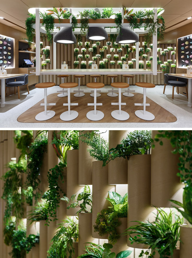 The cardboard 'bamboo' walls in this modern restaurant have highlighted openings to display a variety plants. #CardboardTubes #PlantWalls #RestaurantDesign