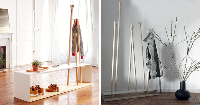 MZPA have designed 'Hilka', a series of two coat racks, a standalone floor coat rack, and a bench coach rack. #CoatRack #Design #FurnitureDesign
