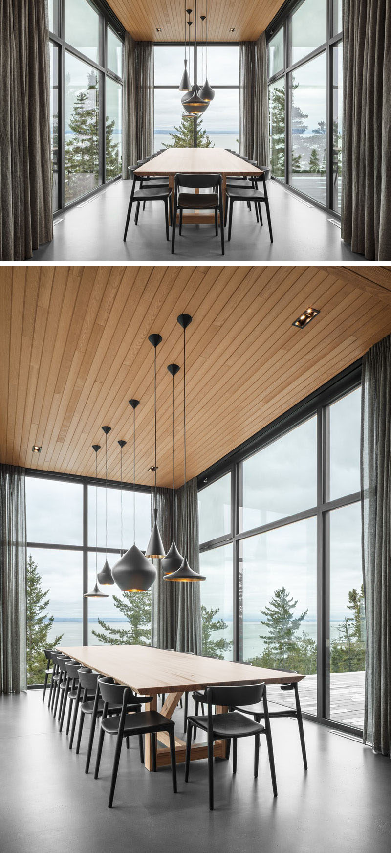 This modern dining room has high ceilings, is surrounded by walls of windows on three sides, and extends away from the house. #ModernDiningRoom #DiningRoom #Windows #WoodCeiling