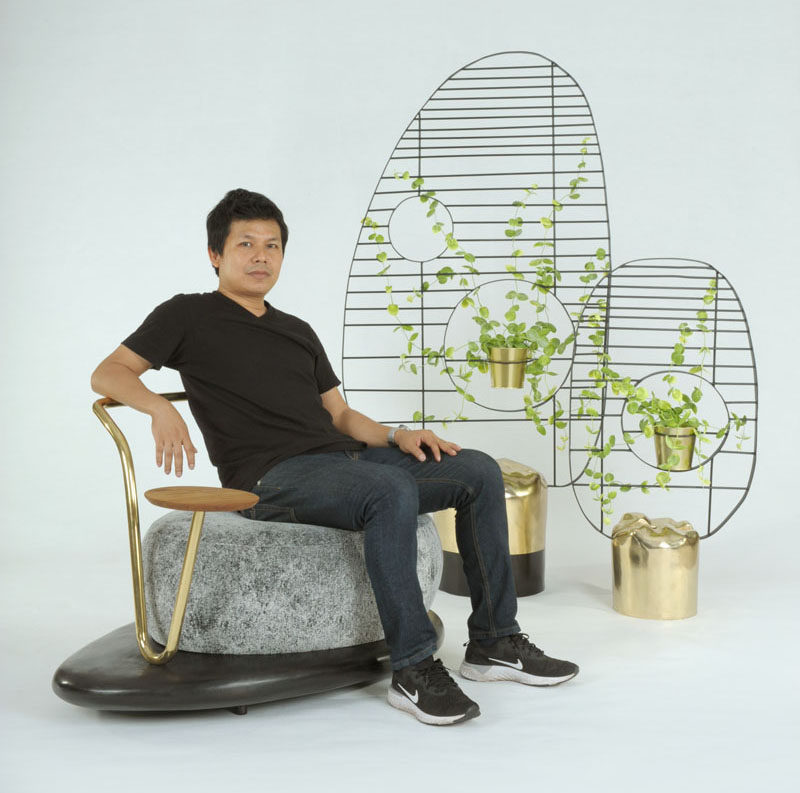 Designer Apiwat Chitapanya has created the Zen Stone Collection, that includes a sofa set, a side table, and a screen, for Thai furniture brand Masaya. #FurnitureDesign #Seating #Screen #Table