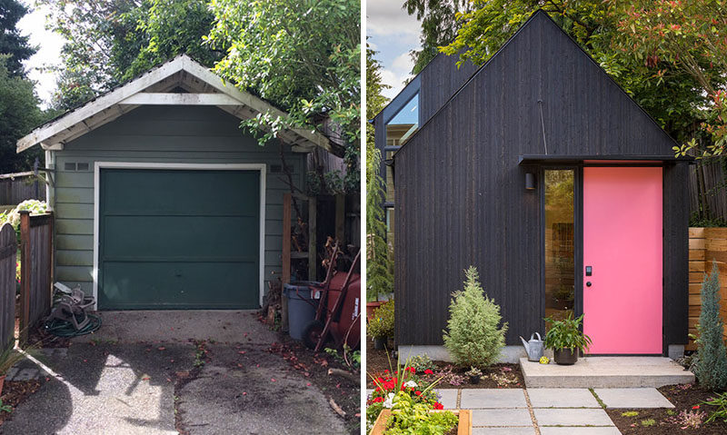 Seattle-based Best Practice Architecture have converted what was once a regular backyard garage and transformed it into a lofty and often tiny house. #TinyHome #TinyHouse #GarageConversion