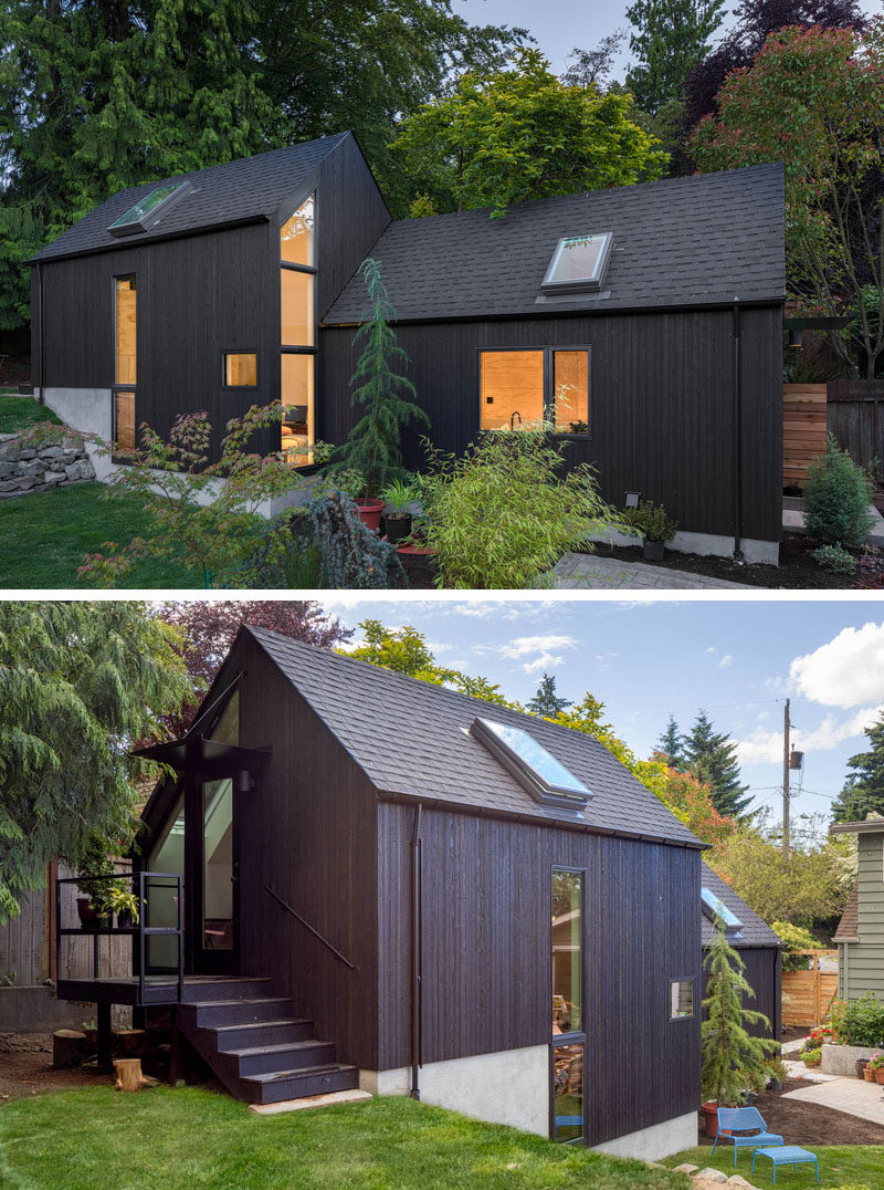 Seattle-based Best Practice Architecture have converted what was once a regular backyard garage and transformed it into a lofty and often tiny house. #TinyHome #TinyHouse #GarageConversion #BlackStainedCedarSiding