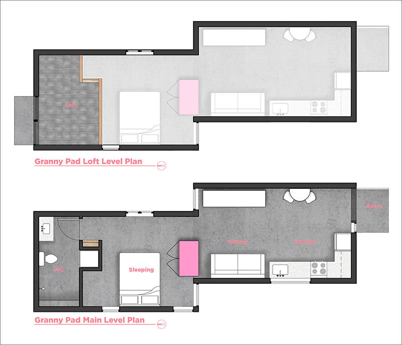 FLOOR PLAN - Best Practice Architecture have converted what was once a regular backyard garage and transformed it into alofty and often tiny house. #TinyHome #TinyHouse #GarageConversion