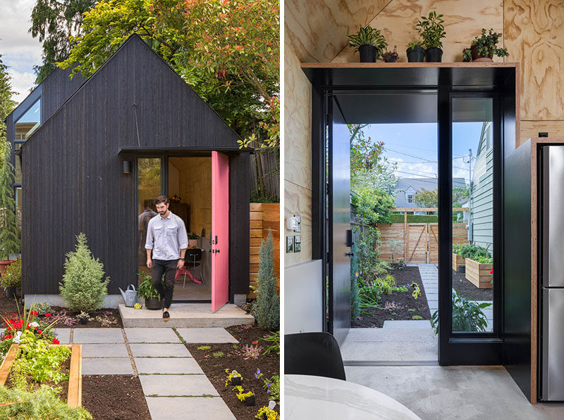 Best Practice Architecture have converted what was once a regular backyard garage and transformed it into alofty and often tiny house. #TinyHome #TinyHouse #GarageConversion