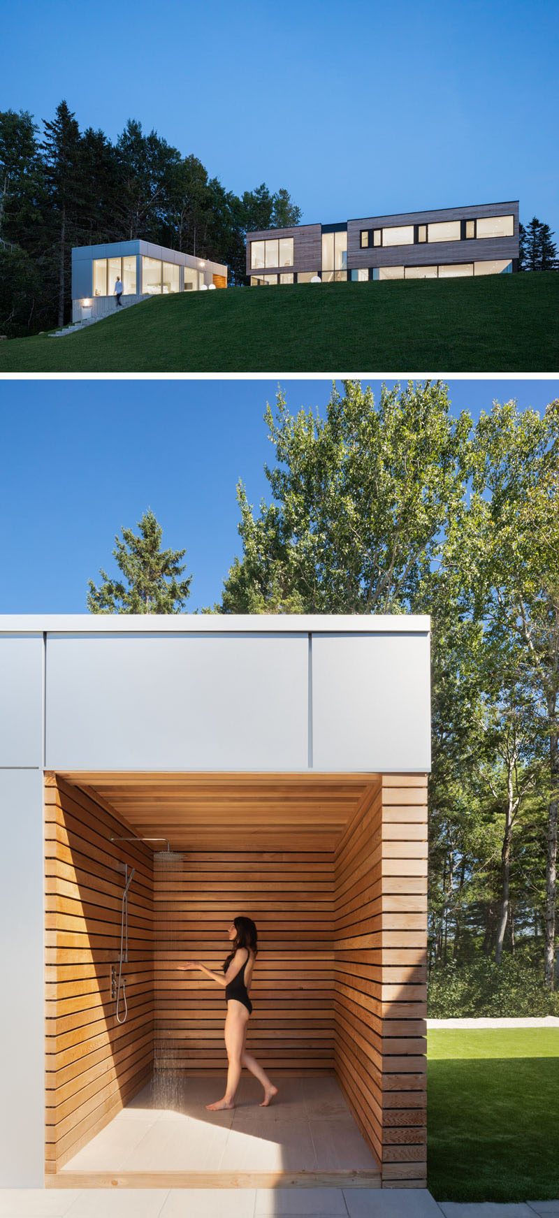 This modern house has an adjacent guest house with a bedroom, living room / kitchen, a bathroom, and a outdoor shower. #GuestHouse #ModernHouse #OutdoorShower