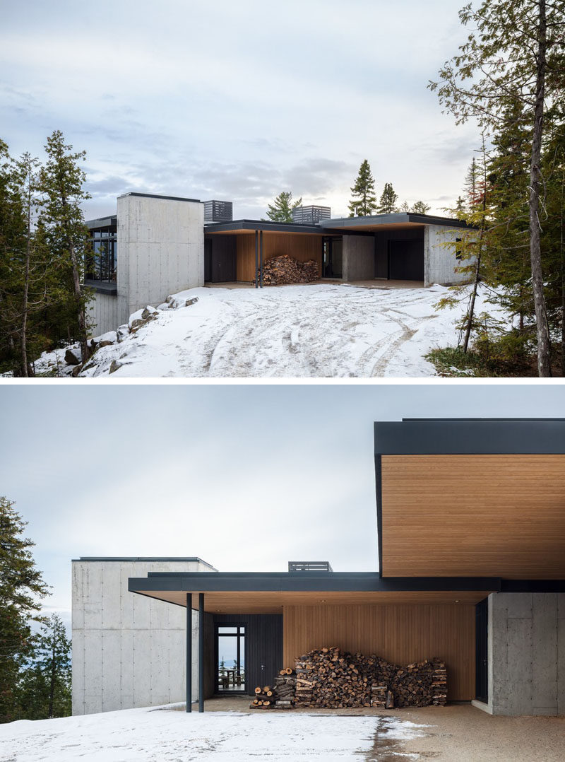 The design of this modern house draws inspiration from landscape of the St. Lawrence River estuary, which is visible from the rocky headland on which it is located. #ModernHouse #Concrete #Architecture #Wood