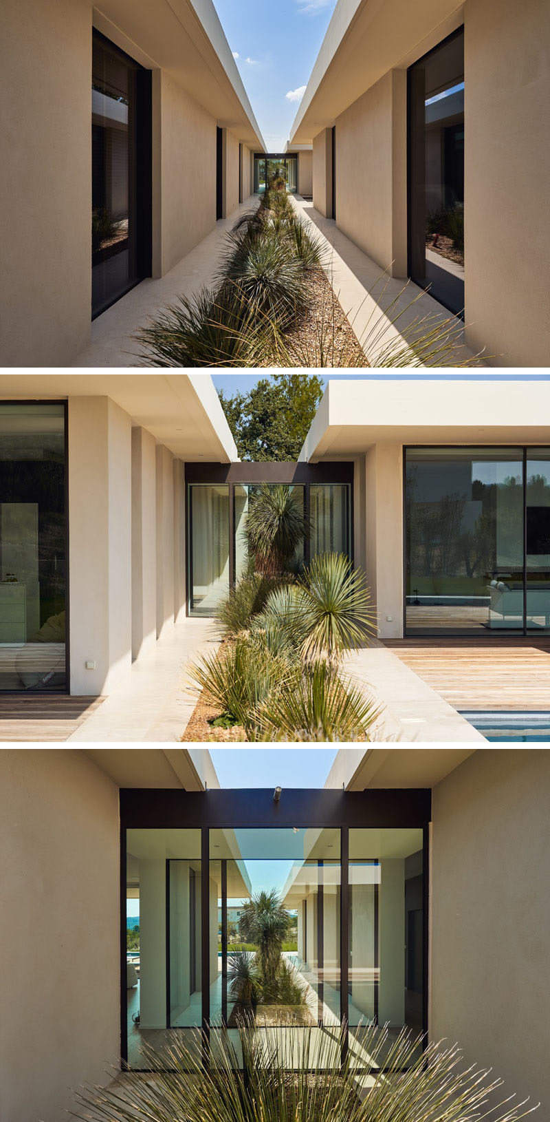 A strip of landscaping runs the length of this modern house and separates the two wings. #Landscaping #GardenDesign