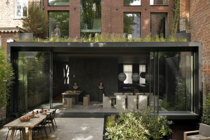 Architecture firmK2A, have completed the renovation of twovery narrow houses that were in poor condition in Brussels, and transformed them into a larger house with a back garden. #ModernArchitecture #Renovation #Extension