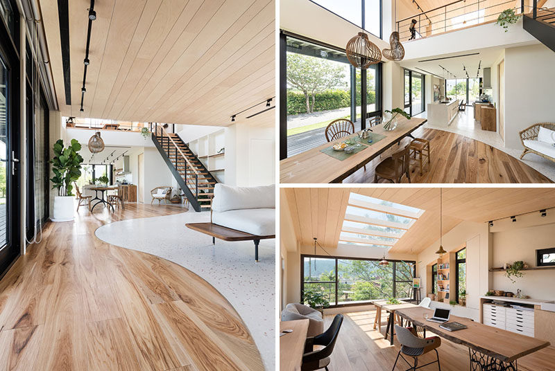 C.H.I. Design Studio have recently completed the warm and contemporary interior of a home that's located in the center of a farm in Yilan, Taiwan. #ContemporaryInterior #InteriorDesign #WoodInterior