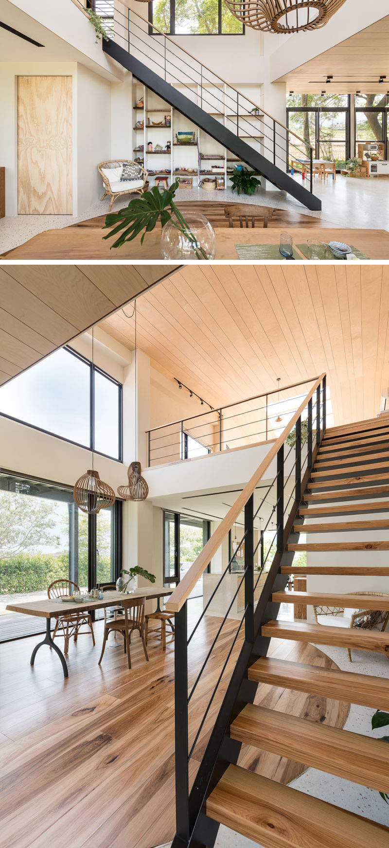 This modern house has steel and wood stairs that lead up to a lofted studio space. #Stairs #ModernStairs
