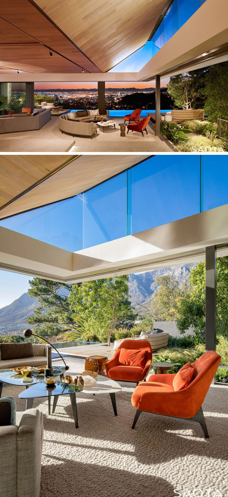 This modern living room has large sliding glass walls that connect the interior to the garden, the swimming pool, and the outdoor decks. #ModernLivingEoom #Windows