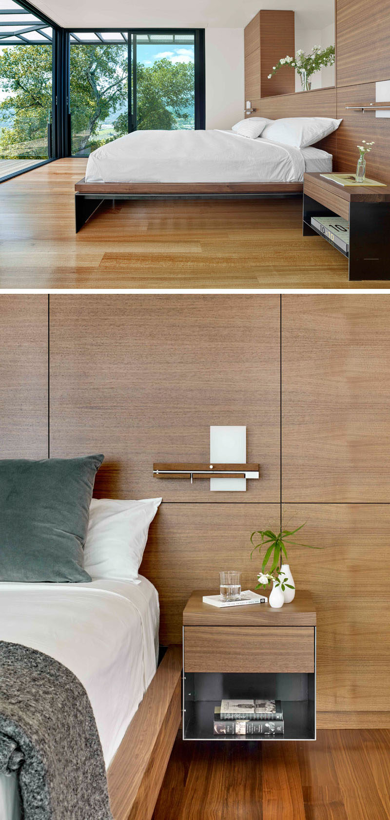 This modern bedroom opens up to a balcony, while a custom wood headboard meets a steel bed frame and bedside tables. #MasterBedroom #BedroomDesign