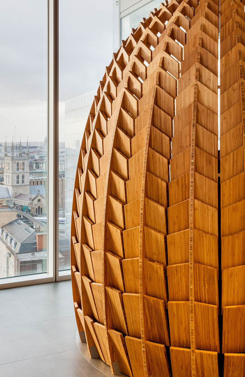 These Regeneration Pods are made from hundreds of pieces of bamboo and provide a place for employees to take a short-term rest. #Workplace #Office #Design