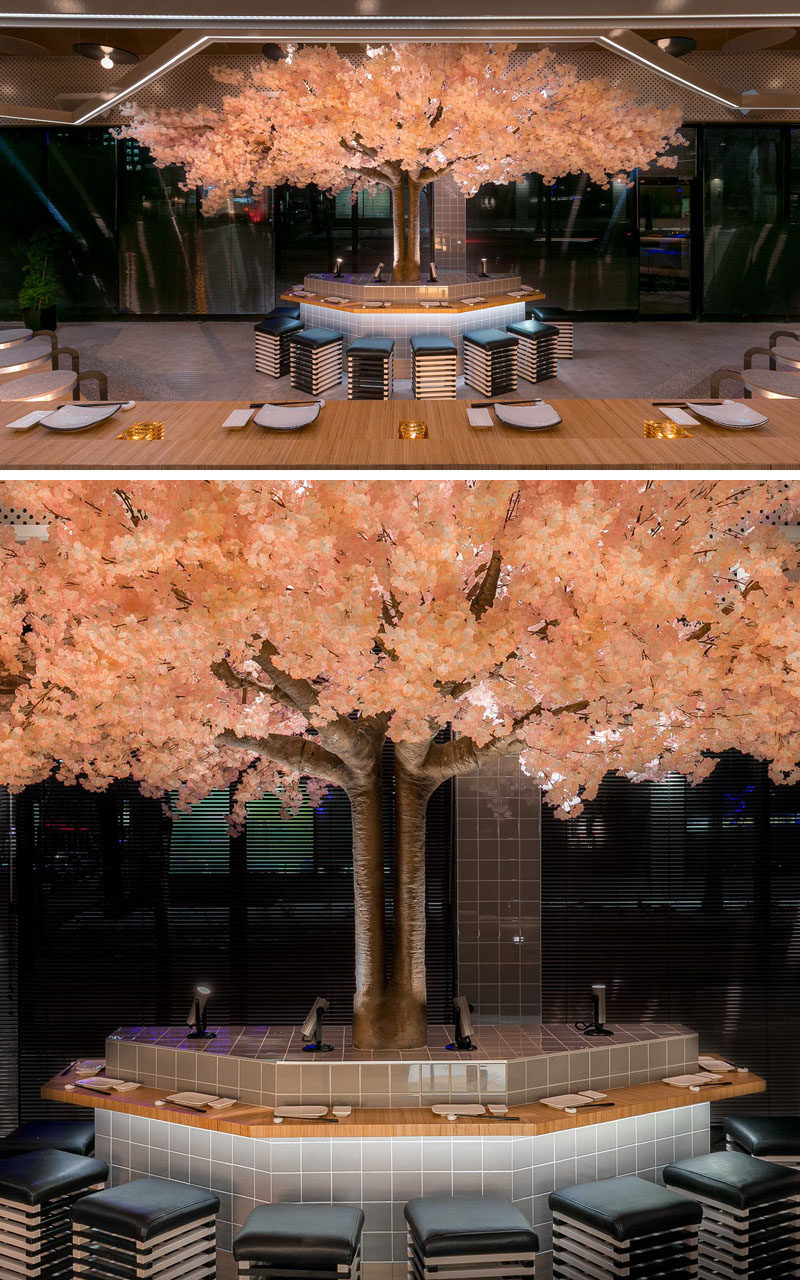 This Japanese Sake Bar In Montreal Is Designed Around A Cherry Blossom Tree