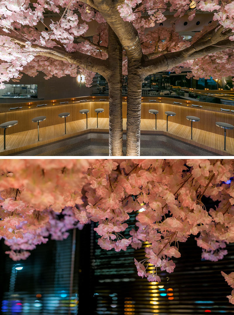 "This modern Japanese restaurant has a cherry blossom tree that stands 16 feet (5m) in width and 11 feet (3.5m) high, making it the restaurant's own ""totem pole"". #RestaurantDesign #CherryBlossom"