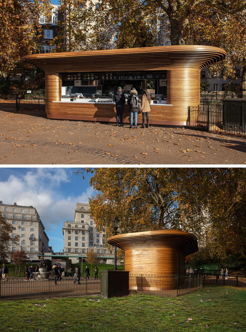 Mizzi Studio used sustainable materials like wood and traditional craft techniques, together with state-of-the-art manufacturing methods, to create a modern park kiosk. #Architecture #ParkKiosk #Design