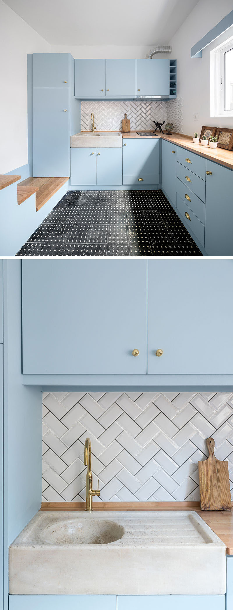 This small and modern kitchen features powder blue cabinets, a wood countertop, and white subway tiles in a herringbone pattern. #Kitchen #BlueKitchen #ModernKitchen