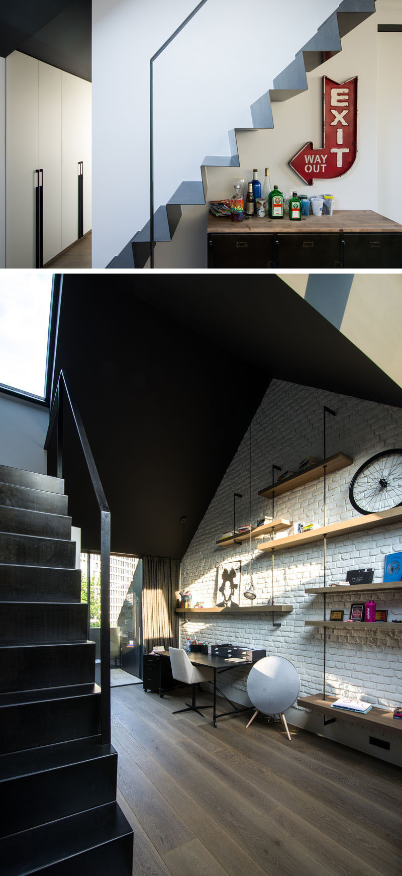 Thin metal stairs in this modern house lead to a home office, with a large painted brick wall and wood shelving. #HomeOffice #Stairs