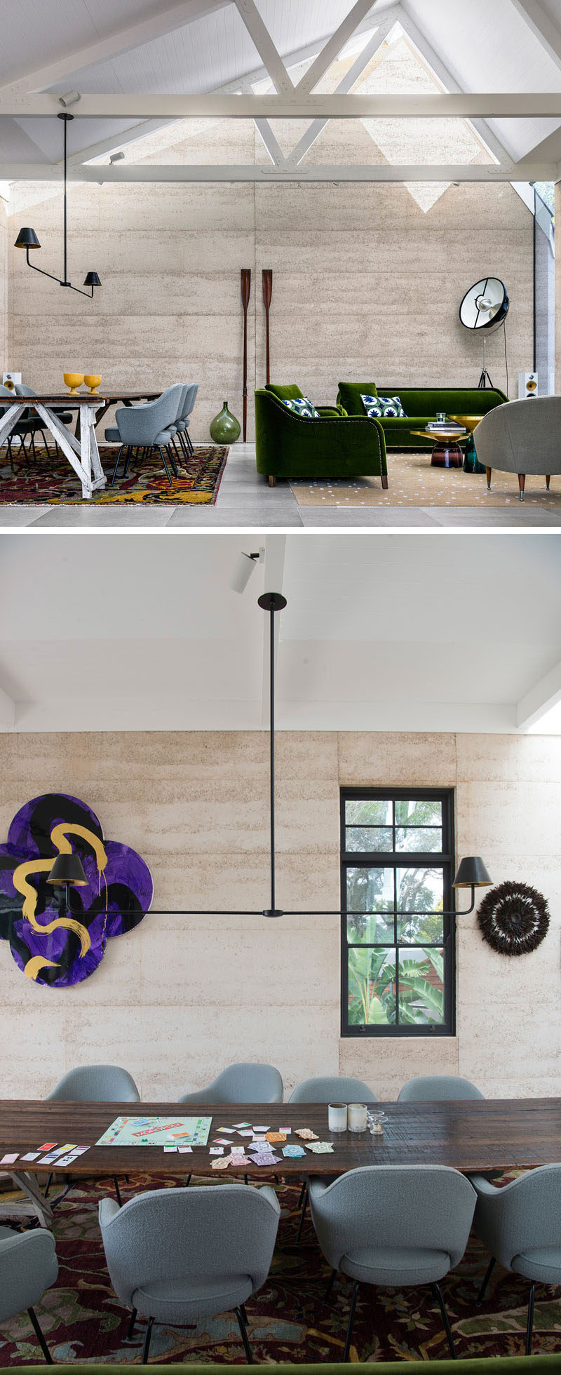 This house features rammed earth walls in the combined living room and dining room. #RammedEarthWalls #LivingRoom #DiningRoom