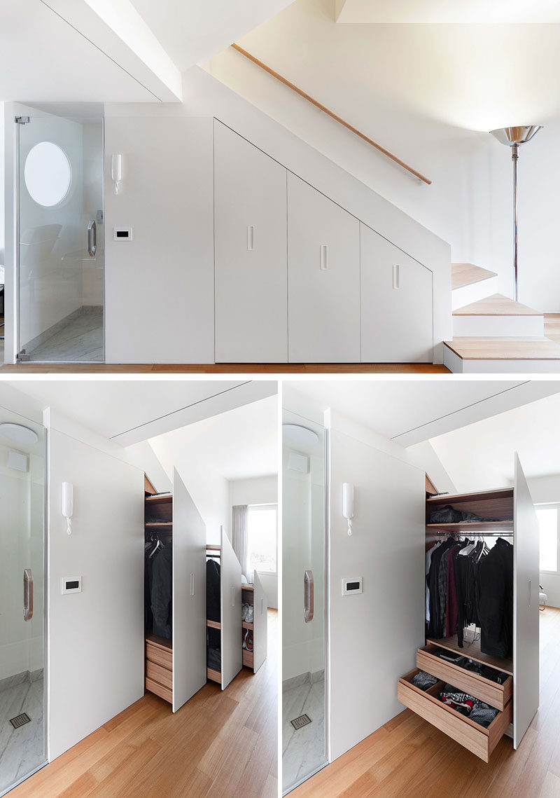 This small and modern apartment hides storage beneath the stairs. #Storage #Closet #UnderStairStorage #Stairs