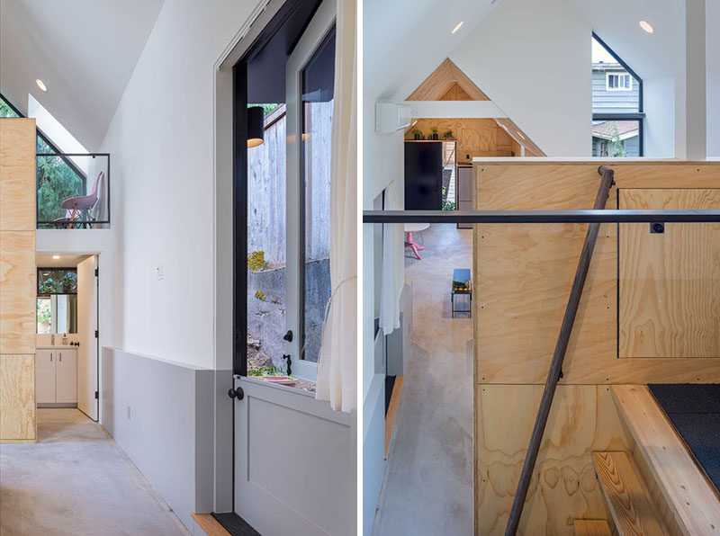 A lofted space above the bathroom of this tiny house will be used as storage but can easily be transformed into an office or sleeping loft in the future. #TinyHouse #Loft