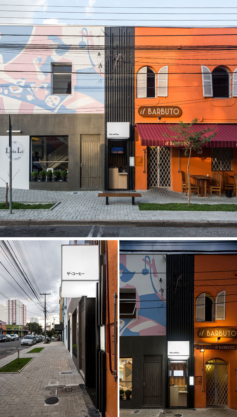 Studio Boscardin.Corsi Arquitetura have transformed what was once a small service door, formerly unusable by the restaurant next door, and created 'the coffee', a small hole-in-the-wall takeaway coffee shop in Brazil. #CoffeeShop #Cafe #RetailDesign