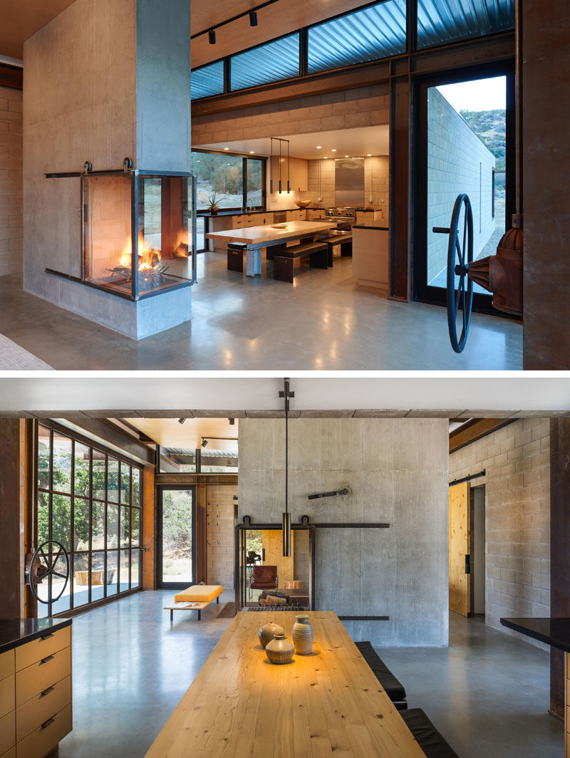 In this kitchen, cabinets wrap around the walls, while a dining table with bench seating is positioned centrally in the open area. #KitchenDesign #ModernKitchen