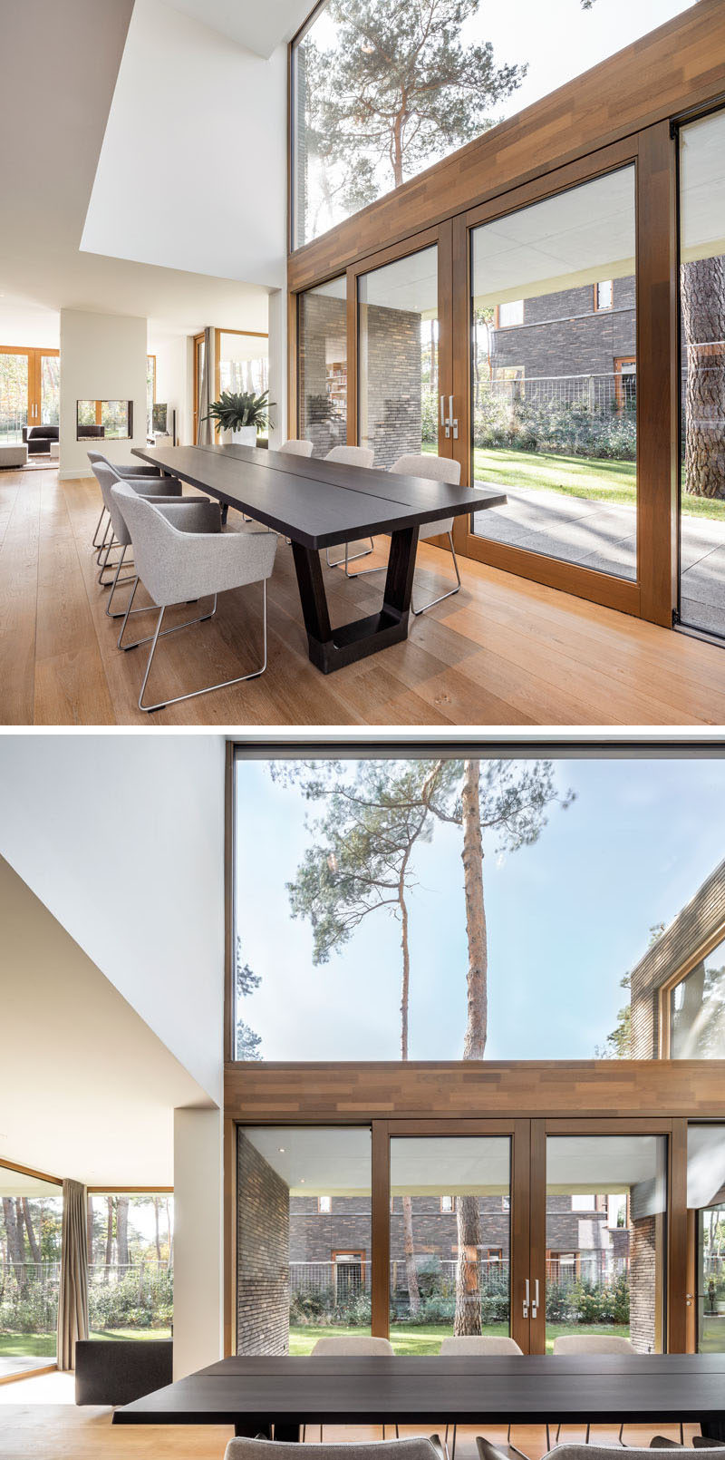 This modern house has a double-height ceiling above dining table, large windows for plenty of natural light, and wood framed sliding doors to connect to the outdoors. #DiningRoom #DoubleHeightCeiling #Windows #SlidingDoors