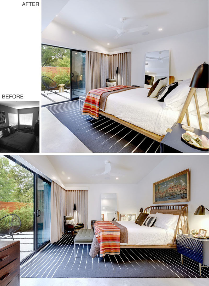 BEFORE + AFTER - This modern master bedroom has been given a bright facelift, with a high ceiling, white walls, a sliding door, and new windows. #Bedroom #BedroomDesign