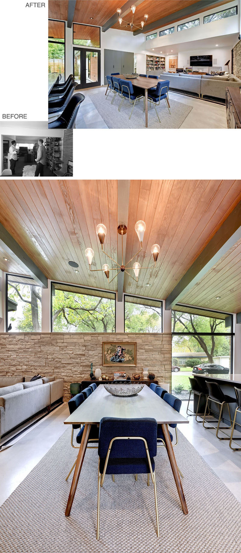 BEFORE + AFTER - Separating the living room and the kitchen of this remodeled mid-century home, is the dining room. Angled wood ceilings allow for natural light to be added to the dining area, while a chandelier draws the eye upwards to the exposed ceiling. #DiningRoom