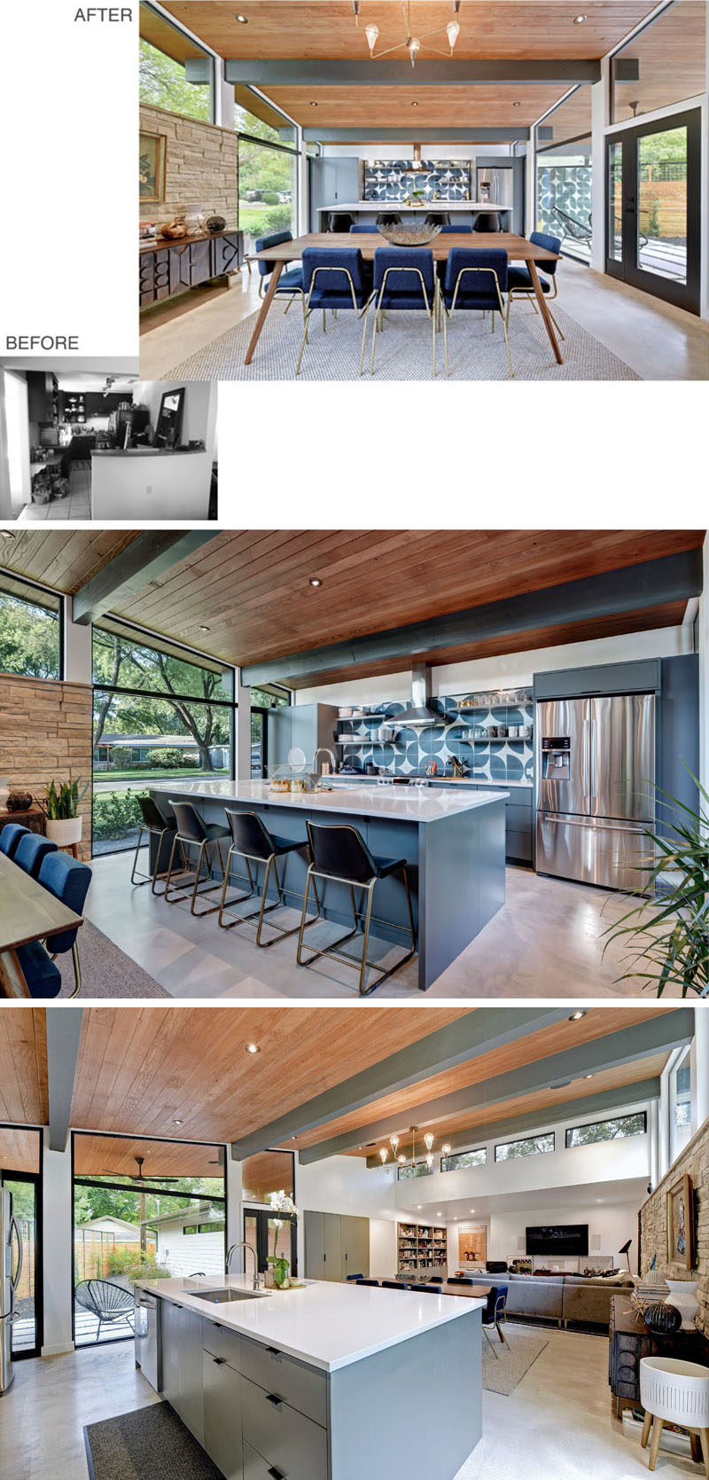 BEFORE + AFTER - As part of the remodel of this mid-century house, the kitchen was opened up, and large picture windows were added on either side. #KitchenDesign #ContemporaryKitchen #KitchenRemodel