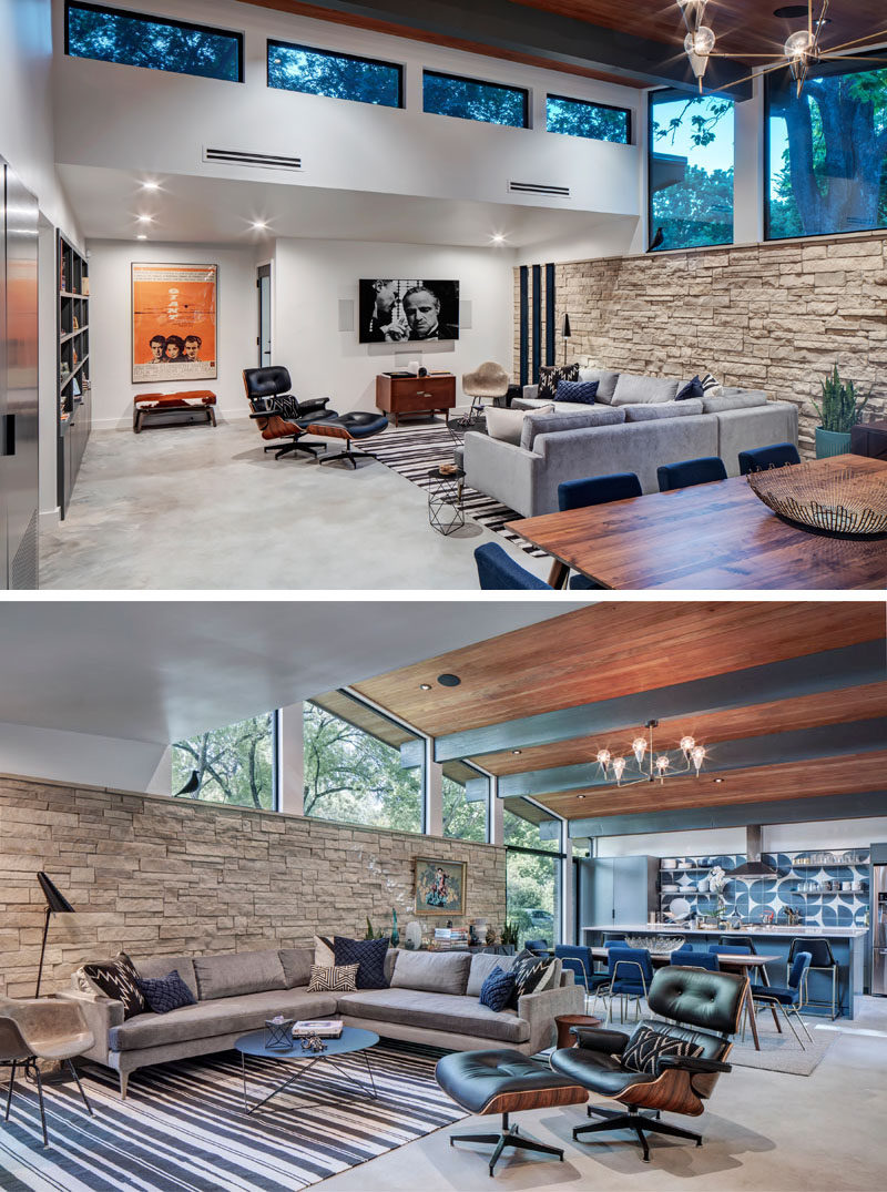 This remodeled mid-century modern house has all of the social areas of the home sharing the same open plan room, with the living room at one end of the room and the kitchen at the other. #LivingRoom #OpenPlan #Remodel