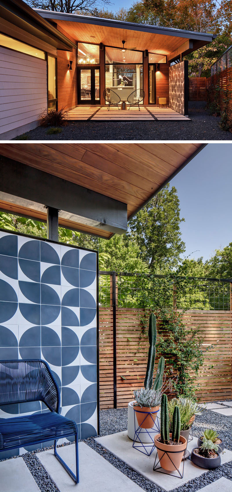 This remodeled mid-century modern house has a small covered patio off the kitchen, that features the same tiles as the kitchen backsplash. #Patio #OutdoorSpace