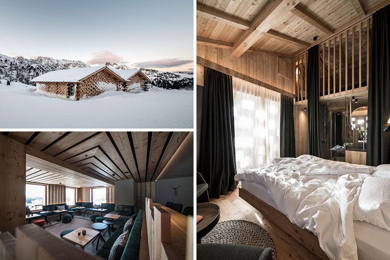 noa* (network of architecture) have completed the conversion and extension of Zallinger Refuge, a hotel located within the Alpe di Siusi area of Italy. #Hotel #InteriorDesign #Architecture #Italy