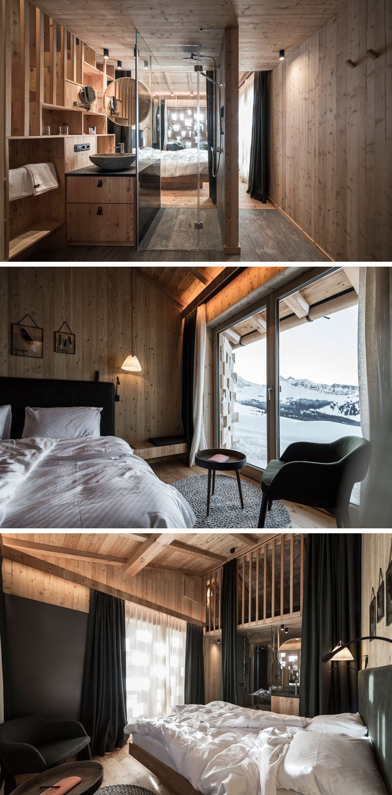 This modern hotel room is lined with wood, created a modern yet cozy atmosphere, while stairs lead up to a small loft where children can sleep, or it can be used as a relaxing nook. #HotelRoom #ModernHotelRoom