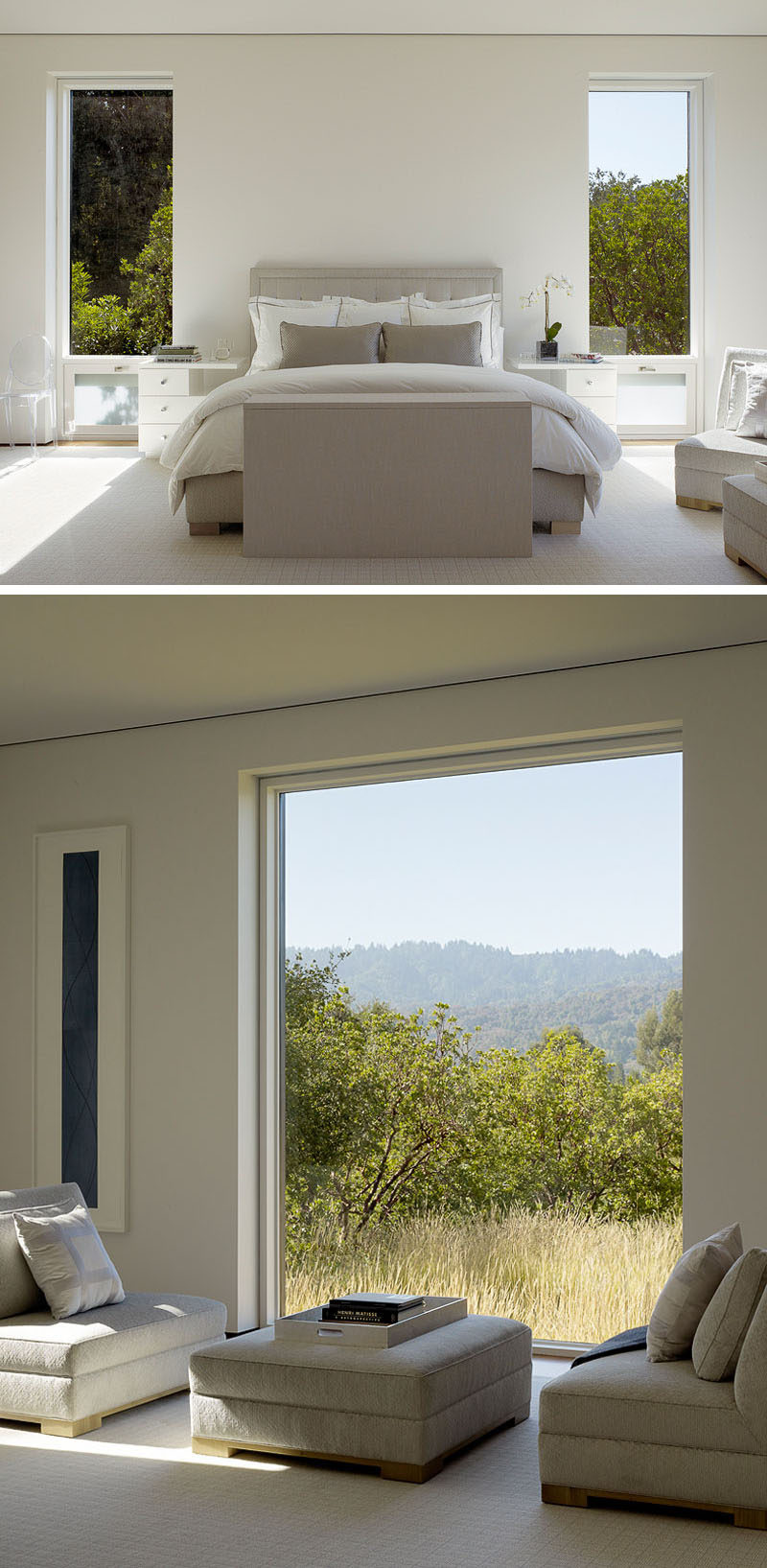 In this contemporary master bedroom, which is large enough to have a small sitting area, the trees outside add a pop of green to the neutral color palette. #Windows #ContemporaryBedroom