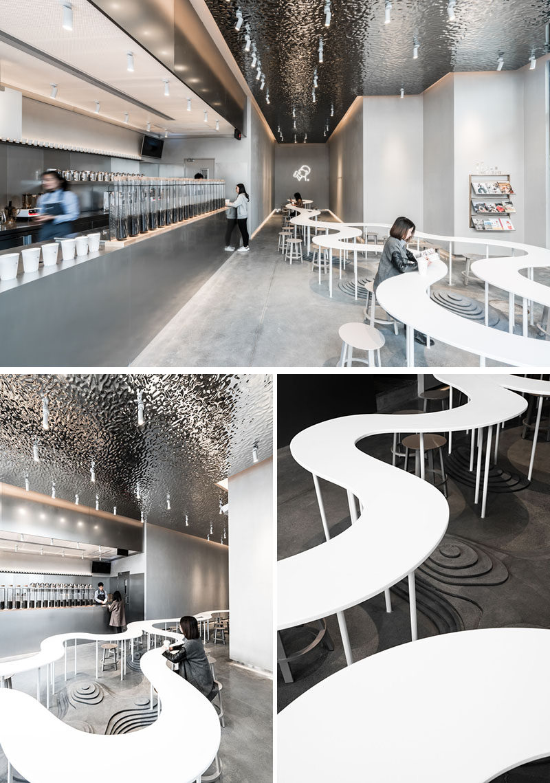 A.A.N ARCHITECTS have designed three locations of HEYTEA, a chain of tea shops in China, that each have their own unique look that features communal seating areas. #Cafe #TeaStore #InteriorDesign #RetailDesign