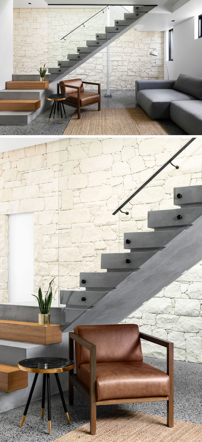 This modern house has stairs with concrete and wood steps and a glass handrail, to connect the various levels of the home. #Stairs #ModernStairs