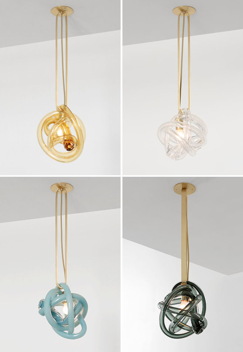 Design and manufacturing company SkLO have created the Wrap Collection, a series of three modern handblown glass lights. #Lighting #GlassLighting #ModernLighting