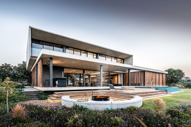 Bloc Architects have designed the 'Forest House', a modern home that's located within an exclusive forest estate in Durban, South Africa. #ModernArchitecture #ModernHouse #HouseDesign