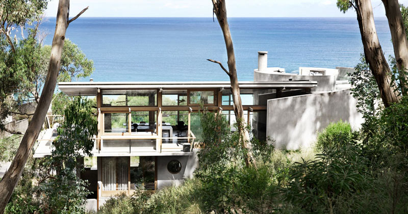 Wood And Concrete Beach House Overlooking The Ocean