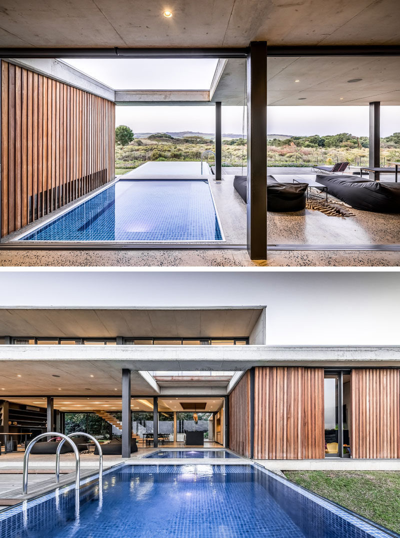 The lines between interior and exterior spaces of this modern house are blurred, creating an indoor/outdoor living environment. #ModernArchitecture #SwimmingPool
