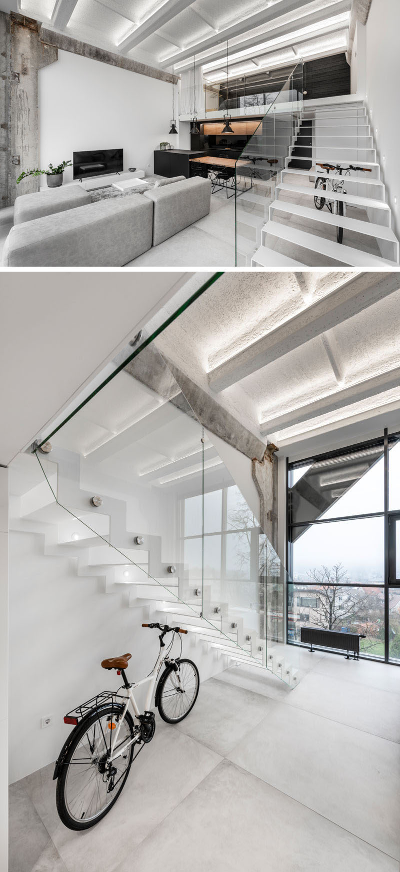 In this industrial modern apartment, minimalist white metal stairs with a glass handrail that lead up to the bedroom. #Stairs #MinimalistStairs